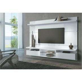 Painel Suspenso com Bancada para TV 19s de 60 Polegadas Livin 2.2 Branco - HB Móveis: Sala de Estar