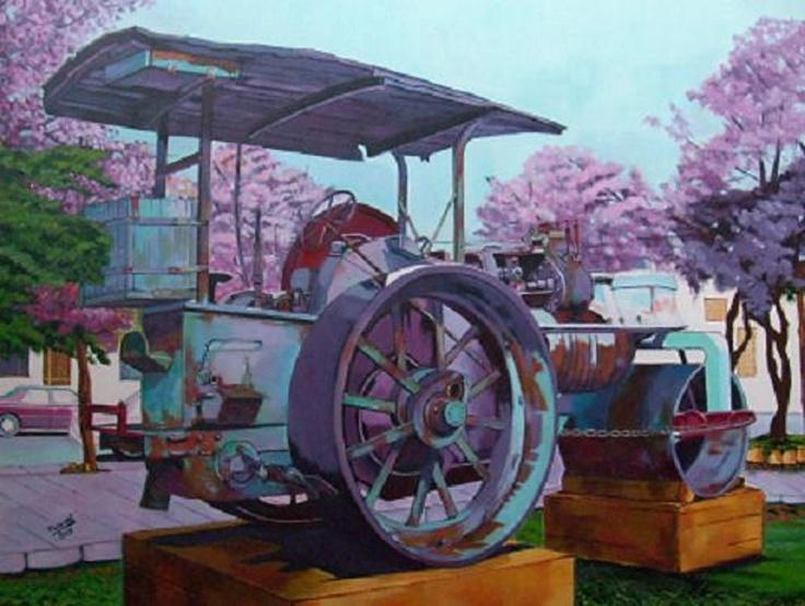Titulo: apisonadora, acrílico sobre lienzo, 81 x 60, 1400 €
