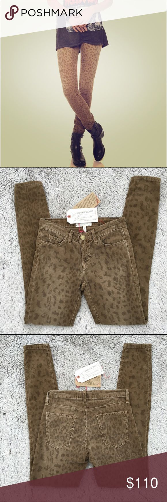 """🎉Fall Fashion HP🎉Current/Elliot Skinnies 🌟NWT New with tags.  Current/Elliot 'the ankle skinny' in musket leopard.  These corduroy pants have a subtle leopard print to them. There's a button and zip closure with five pockets.  98%cotton 2%elastane. 8"""" rise 30""""inseam. In love with these, but they don't fit me. Sold out. Current/Elliott Pants Skinny"""