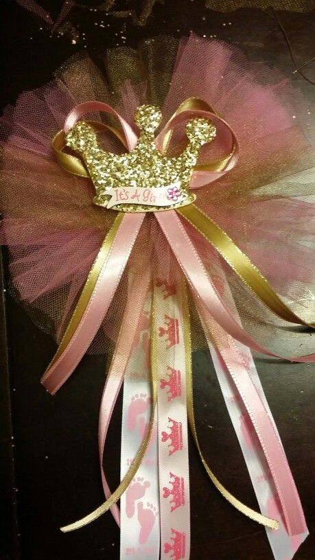 Pink and gold baby shower corsage princess