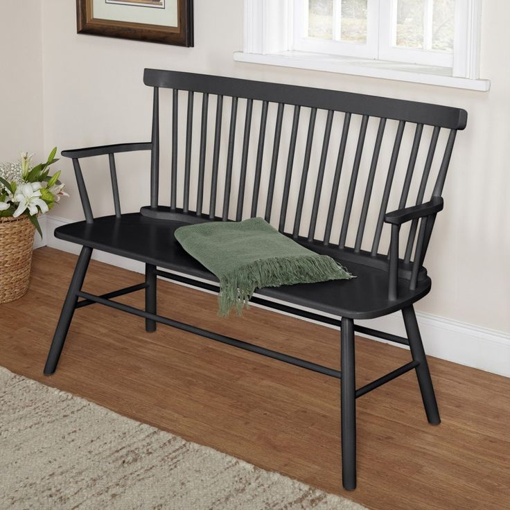 Rectangle Back Windsor Bench Seat Farmhouse Country Bench