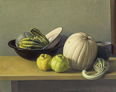 Amy Weiskopf, Still Life with Quinces and White Pumpkin, 2013, oil, 16 X 20 inches