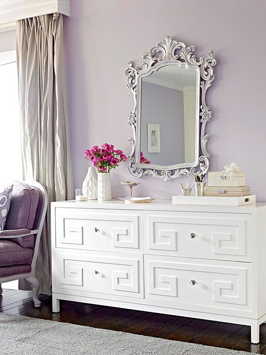 Dazzling Dresser - dress up a dull dresser with simple install overlays which come in a variety of shapes and designs.  Look for ones that can be painted so you can customize your look.: