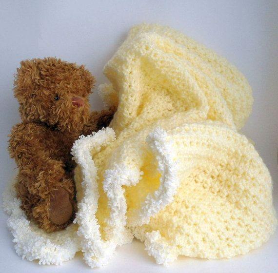 Baby Blanket  Crochet Afghan   Crib Blanket  Cradle by CRAZYBOOM
