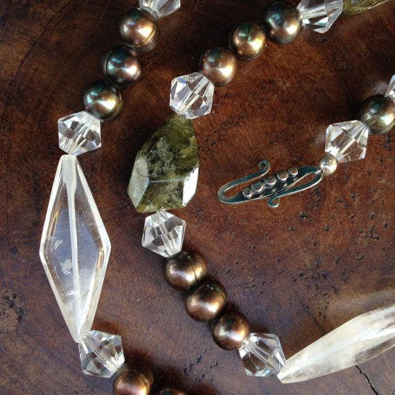 Semi-Precious Stone Necklace  Green Amethyst  by BluePearEmporium