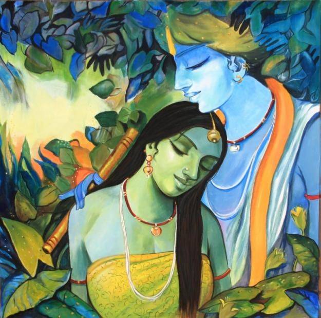 Pictures of Radha & Lord Krishna Paintings On Canvas | Art ...