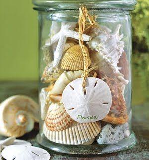 jars filled with shells, sand dollars, etc...: Idea, Sea Shells, Guest Bathroom, Beaches House, Beaches Theme, Seashells, Beaches Decor, Jars, Sands Dollar