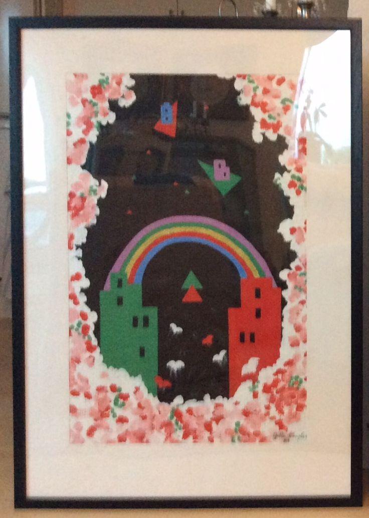 """Fra serien """"Et øjebliks klarsyn"""" I, fra 1988/89 Akryl på glasvæv. Med passepartout 70 x 100 cm"""