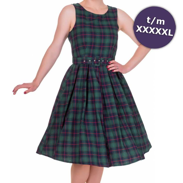 Annie swing jurk met schotse ruit tartan print groen - Vintage 50's Rockabilly retro