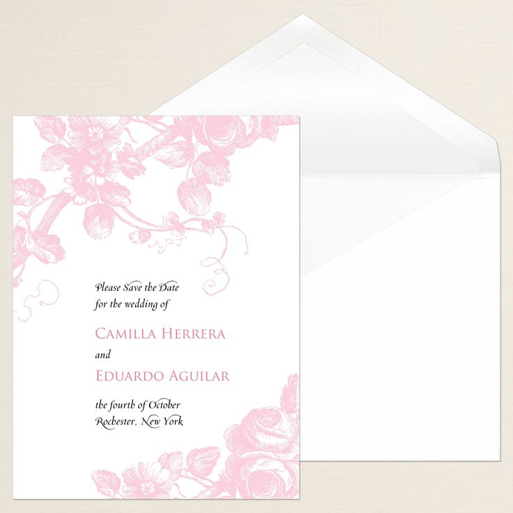 Delicate Roses Save The Date