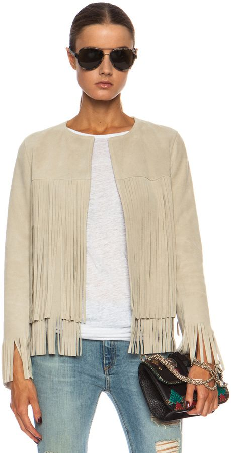 $748, Beige Leather Jacket: Theperfext April Fringe Suede Jacket. Sold by Forward By Elyse Walker. Click for more info: https://lookastic.com/women/shop_items/84753/redirect