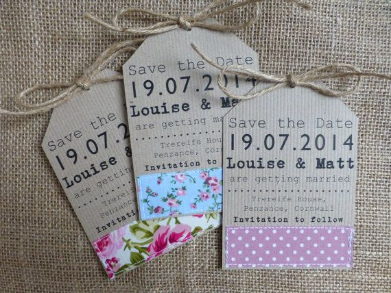 Save the Date tag, Country Garden Wedding - handmade - fabric - kraft card - rustic twine