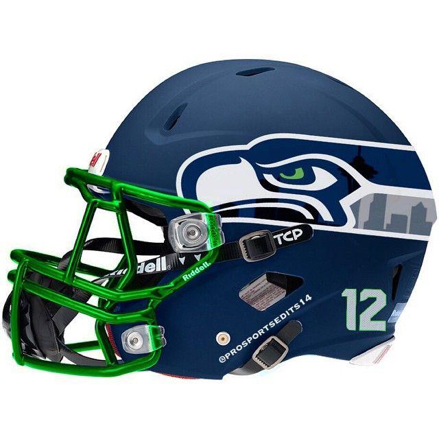"""Seattle Seahawks 12th man city helmet #Seattle #Seahawks #SeattleSeahawks #SuperBowl #NFCChampions #RussellWilson #MarshawnLynch #RichardSherman #Hawks…"""