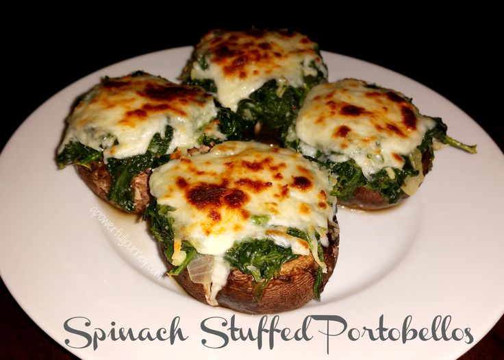 a power full journey: Spinach Stuffed Portobellos Healthy Appetizer , Snack, 21 Day Fix, Green, Blue and Teaspoon