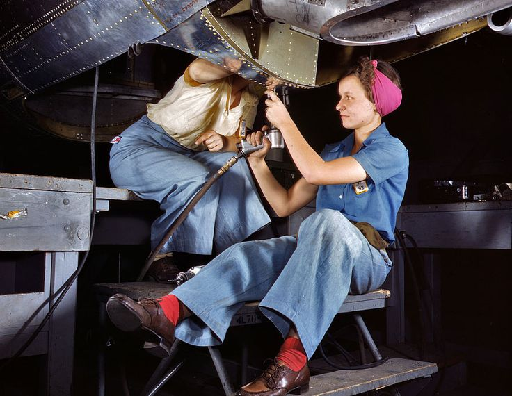 "October 1942. ""Women are trained as engine mechanics in thorough Douglas training methods. Douglas Aircraft Company, Long Beach, California."" The Red Socks: 1942  October 1942. Yet another still from the Technicolor pajama party that was the American aircraft industry in World War II: ""Women at work on bomber, Douglas Aircraft Company, Long Beach, California."""