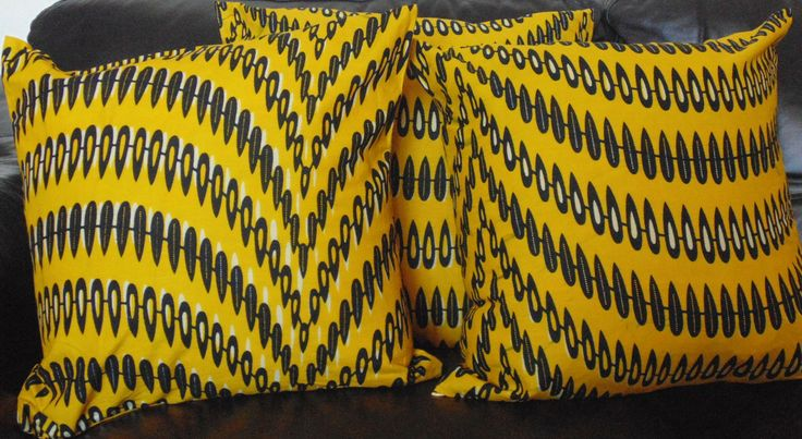 Yellow African Print Pillow Covers from $15 and up