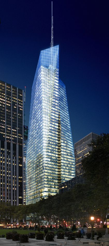 "One Bryant Park (Bank of America Tower), Cook+Fox Architects, NYC, New York. This building has been proclaimed to be the ""greenest skyscraper in America"""