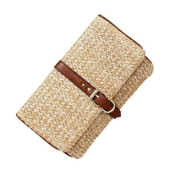 Gap Straw Foldover Clutch - natural ($24) ❤ liked on Polyvore featuring bags, handbags, clutches, purses, bolsas, women, fold over handbag, handbags purses, straw hand bags and foldover purse