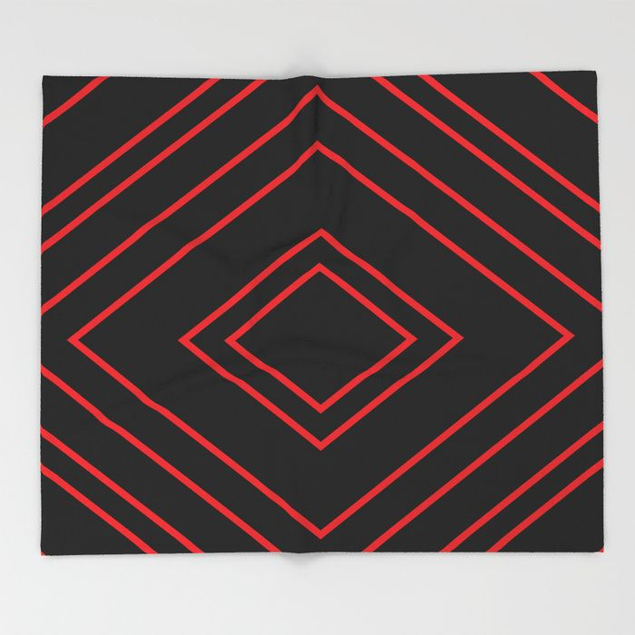 $49.99 Made of 100% polyester and sherpa fleece, these might be the softest blankets on the planet. #blanket #home #decor #stripes #diamonds #red #black #elegant #modern #sensual #pattern #geometric #asymmetric #buyart #society6 #gift #giftideas