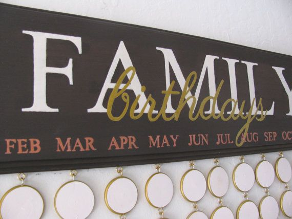 Birthday Reminder Board Family Birthdays by SuzannahsPretties