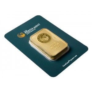 10 oz Perth Mint Gold Bar in Card.Get yours today for as low as $26 Over Spot per ounce!  Each of these Perth Mint Gold Bars contains 10 Troy Ounces of .9999 Fine Gold and arrives in the Original Assay Card!