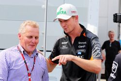 (L to R): Johnny Herbert, Sky Sports F1 Presenter with Nico Hulkenberg, Sahara Force India F1