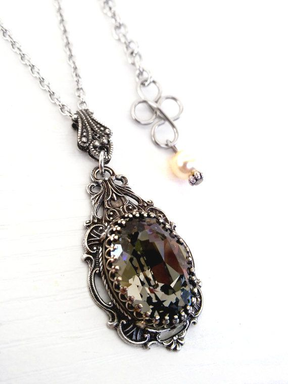 Black Diamond Swarovski Crystal Necklace by ApplebiteJewelry, Gothic Jewelry, Alternative Jewelry