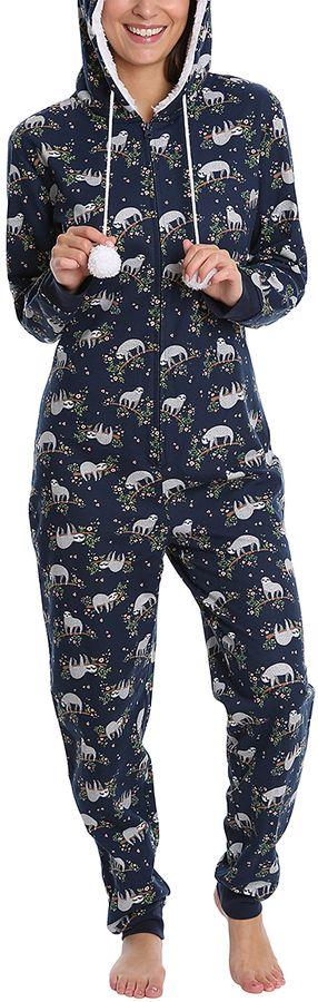 Navy Sloth Hooded Pajama Jumpsuit - Plus Too