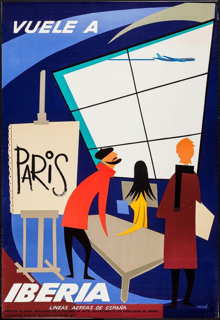 Iberia Paris Travel Poster (1960s) Design by A. Morend