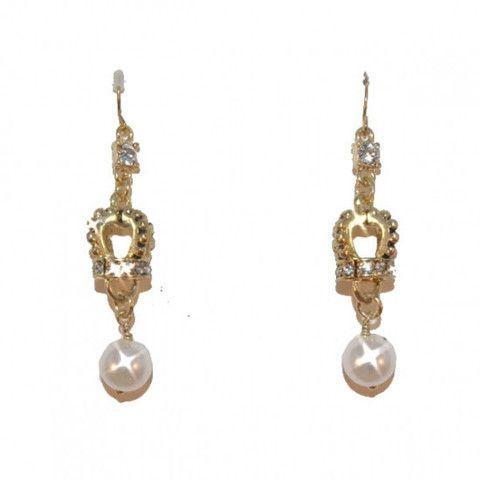 Royal Crown and Pearl Drop Earrings. Delicately regal elegant drop earrings for pierced ears - with a crystal set stud hanging from the fish-hook, above the gold-coloured crown-shaped charm set with white crystals, leading to the pearl drop. Lightweight and suitable for day or night.