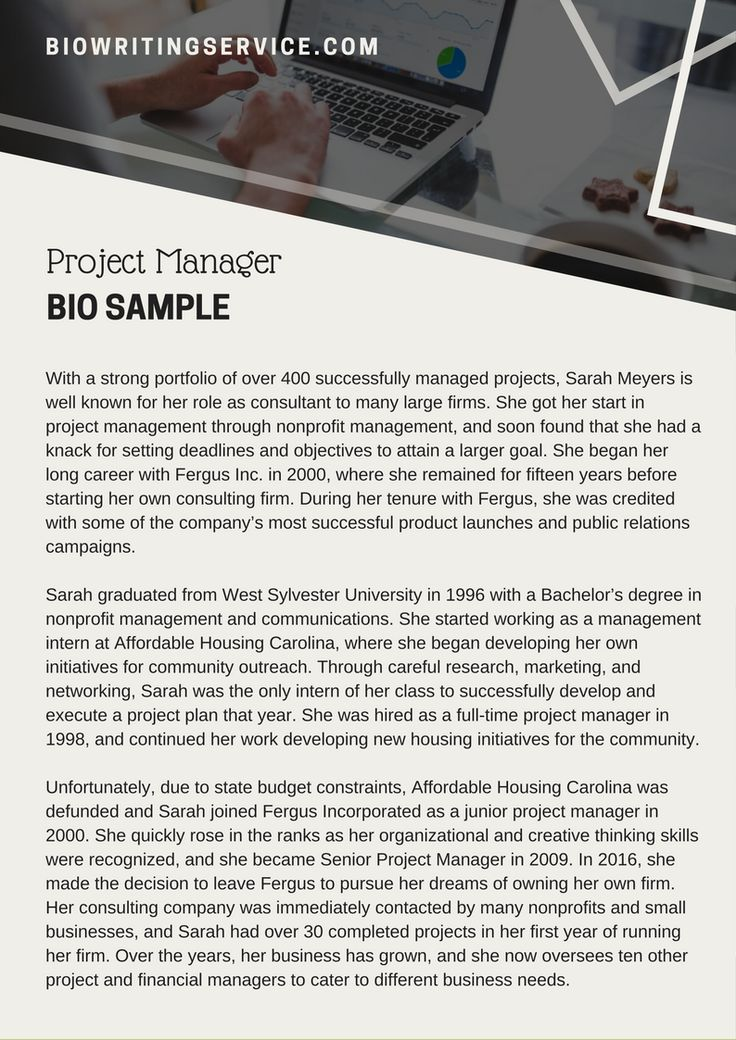 Project manager bio sample which can help you write an attention - biography template microsoft word