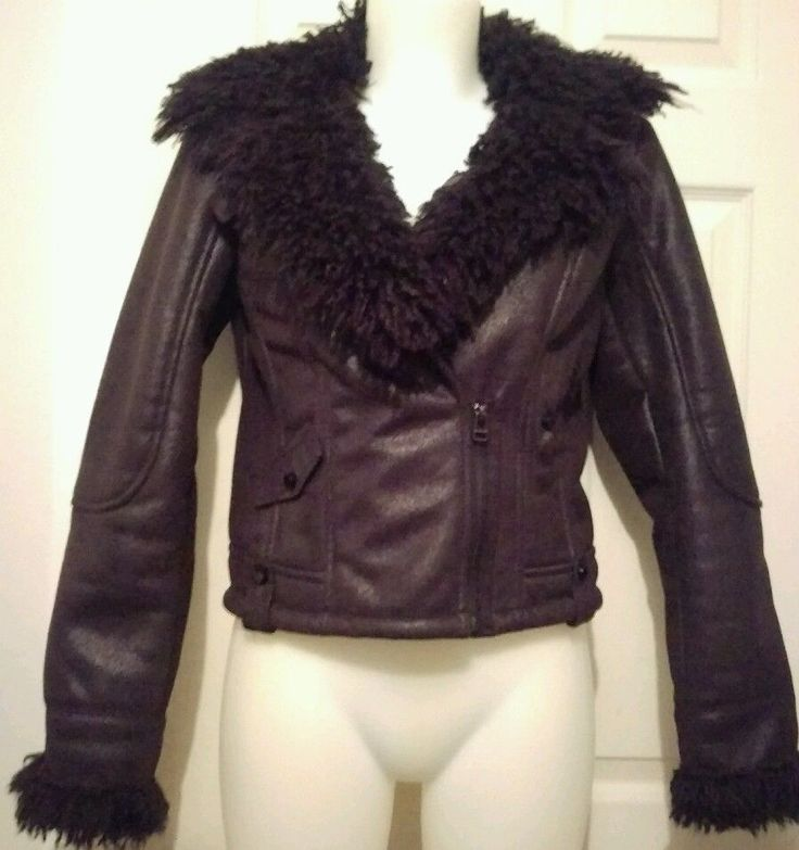 CACHE Faux Shearling Moto Jacket sz S Black soft Faux Curly Lamb Fur Trim Coat | Clothing, Shoes & Accessories, Women's Clothing, Coats & Jackets | eBay!