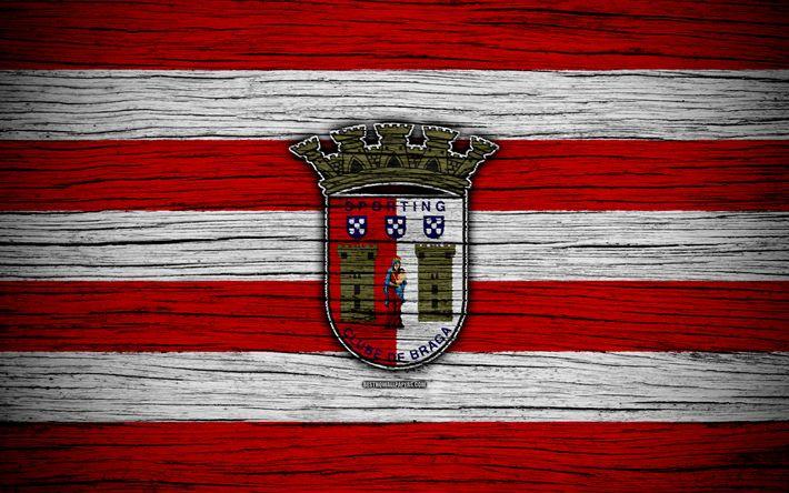 Download wallpapers Braga, 4k, Portugal, Primeira Liga, soccer, wooden texture, Braga FC, football club, logo, FC Braga
