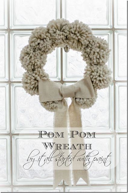 Pom Pom Winter Wreath, by It All Started With Paint, featured on Funky Junk Interiors