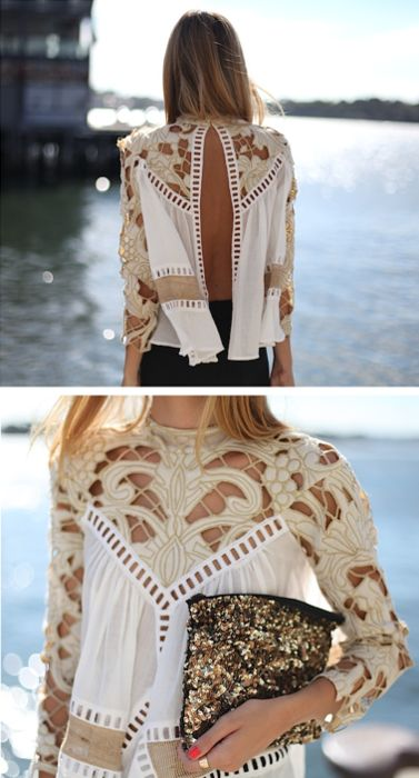 : Cute Tops, Cutout, Lace Blouses, Lace Top, White Shirts, Open Backs, Cut Outs, Back Details