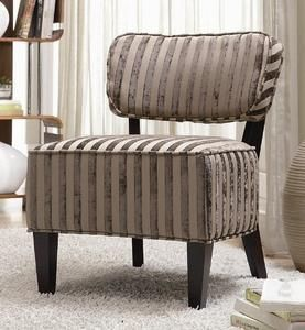 Accent Chair with Beige Stripes in Cappuccino Finish