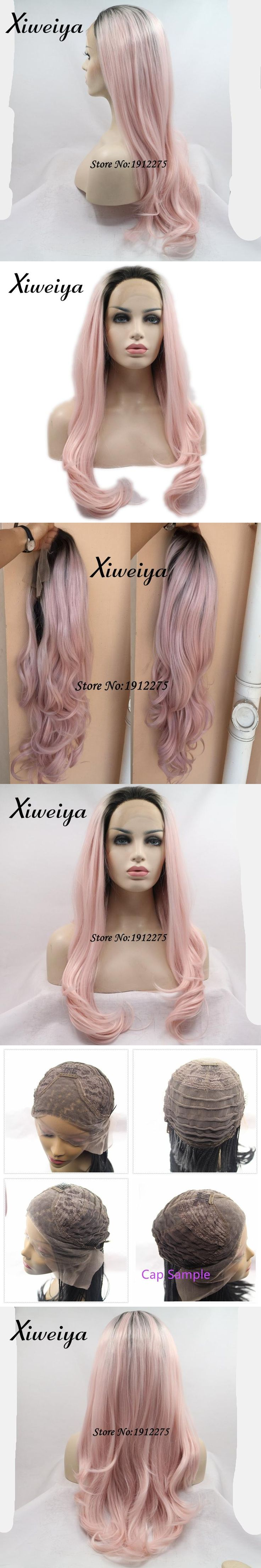 Xiweiya Heat resistant synthetic lace front wig for women pink dark root nature straight half hand tied soft long wig drag queen