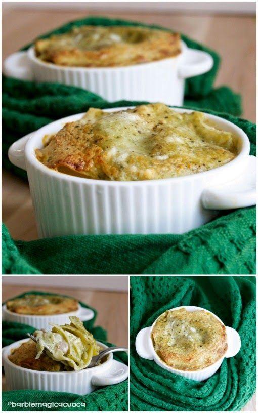 Cocottine di lasagne primaverili al ragù di latte, basilico e salsiccia | Barbie magica cuoca - blog di cucina