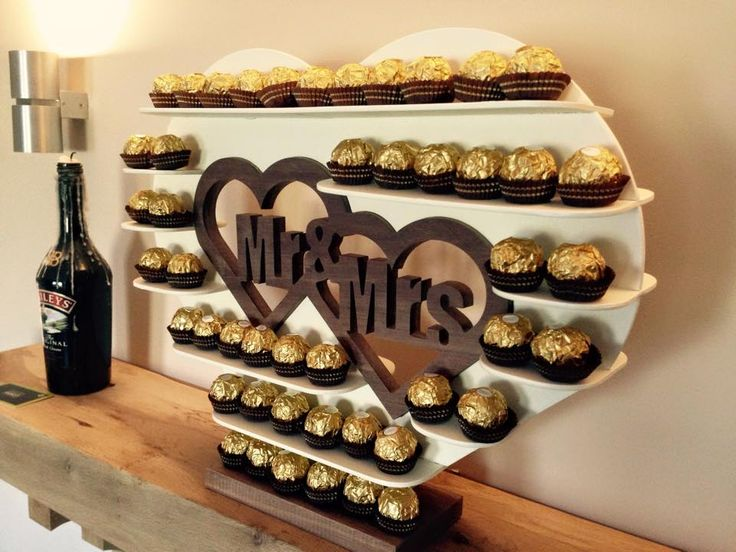 Painted Ferrero Rocher Stand with beautiful Solid Walnut Mr & Mrs centre piece