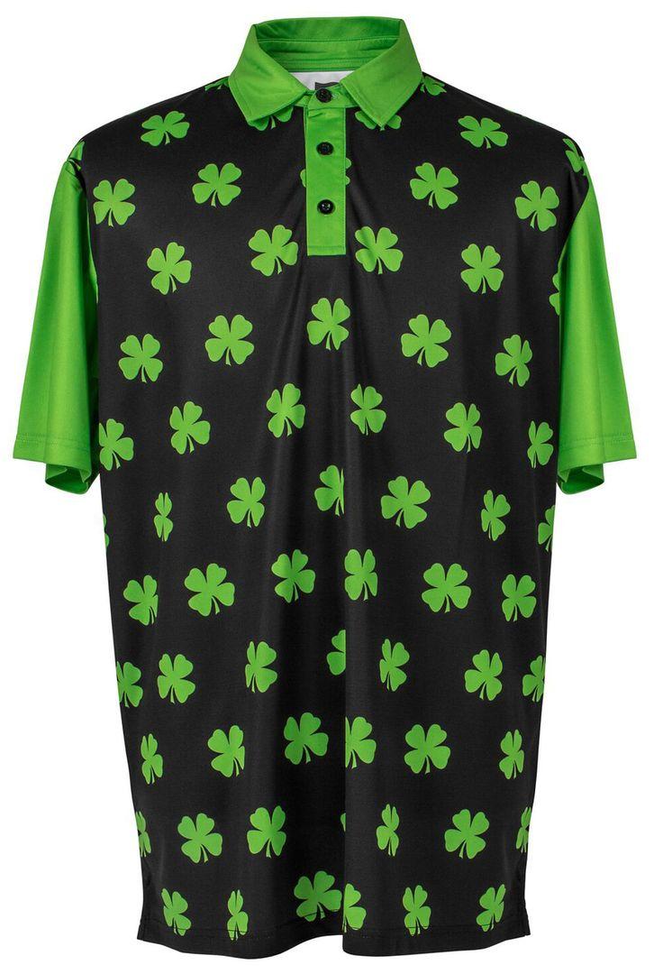 Mens golf polo shirt four leaf clover lime green for Mens lime green polo shirt