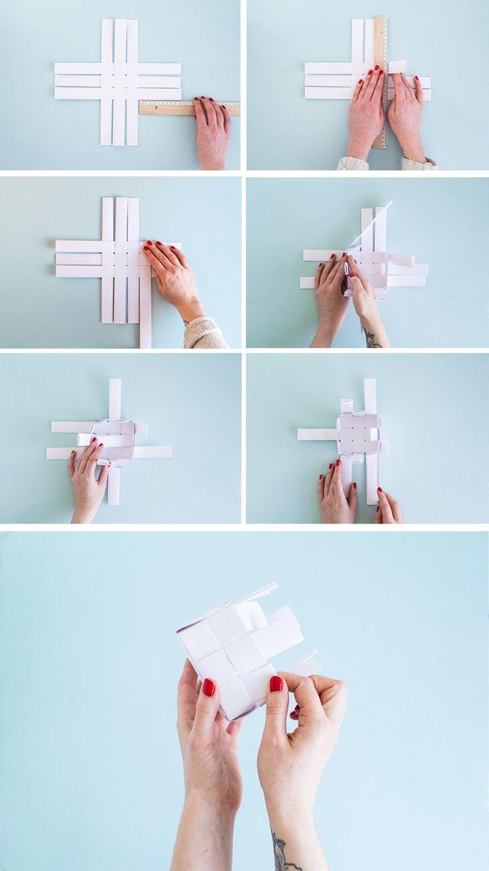 Korb aus Papierstreifen selber flechten - Anleitung
