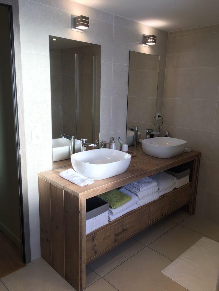 Meuble salle de bain pays bois avec tiroirs meuble salle - Meuble salle de bain mdf ...