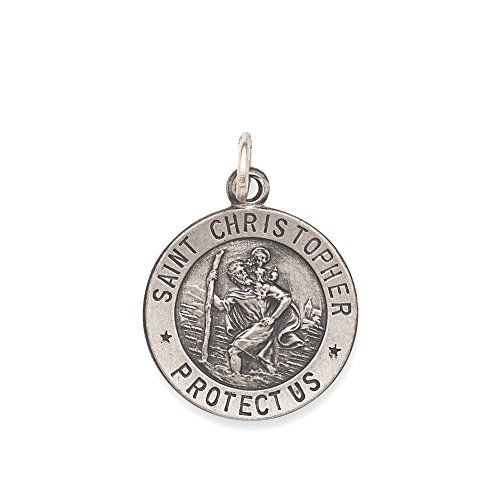 Sterling Silver St. Christopher Medal Charm- 15mm - Made in the USA - JewelryWeb