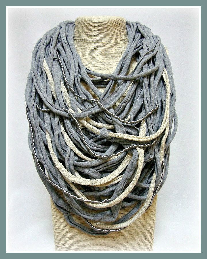 Grey & gold t-shirt yarn necklace-scarf necklace-textile jewelry-upcycled necklace-feminine-multi cords-boho chic-noodles-accessories by veniakriezia on Etsy