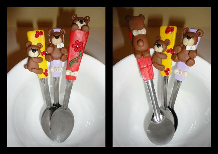 polymer clay Teddy Bears spoons https://www.facebook.com/gyurmacsodak