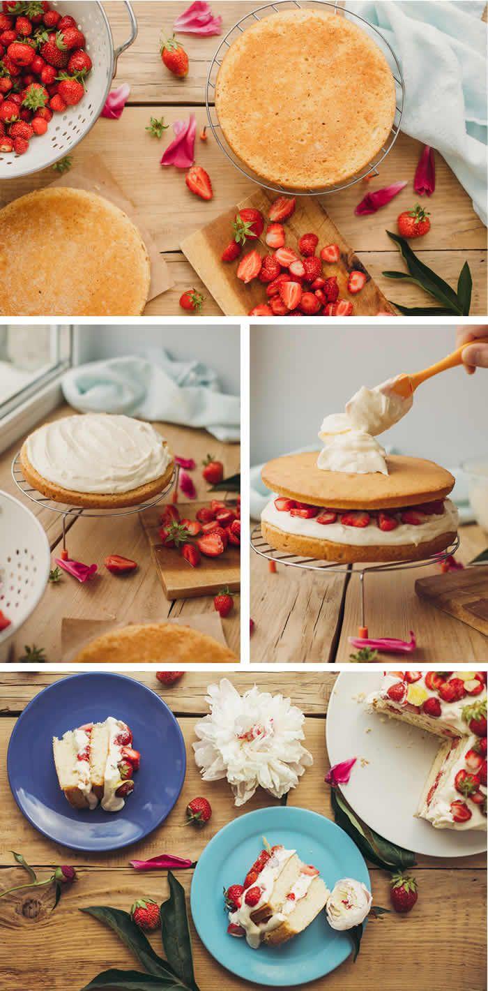 Torta di fragole per la festa della mamma. Il regalo più bello e più dolce.