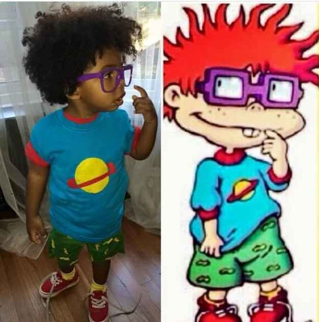 This is quite possibly the cutest kids costume ever!! Chuckie Fenster from Rugrats.