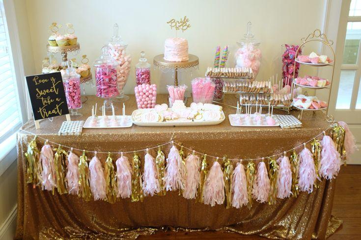 Pink and gold bridal shower candy buffet. Dessert bar.