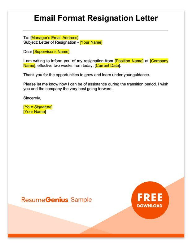 Sample Email Two Weeks Notice Resignation Letter Rg Resignation Letter Sample Resignation Letters Resignation Letter