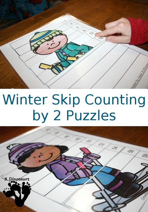 FREE Hands-On Winter Skip Counting by 2 Puzzles - 5 puzzles from numbers from 2 to 100 for the puzzles - 3Dinosaurs.com